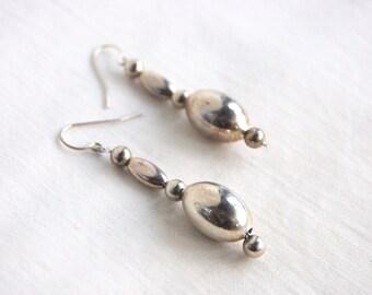 Silver Bead Dangle Earrings Vintage Southwestern Dangles Long Southwest Boho Beaded Jewelry