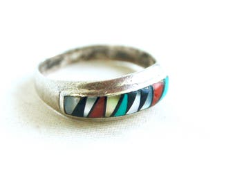 Zuni Ring Band Size 10 .5 Red Coral, Turquoise, Onyx, Abalone, Mother of Pearl Vintage Native American Mens Jewelry