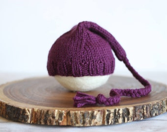 Plumtastic newborn stocking hat. Purple newborn hat. New baby hat. Listing is for hat only.