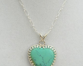 Natural Turquoise Heart Necklace set in Sterling Silver