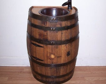 Half Whiskey Barrel Vanity-Dark Copper Sink-Bronze Faucet-Access Door-FREE SHIPPING