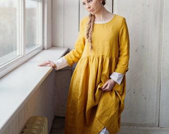 Linen Dress, Yellow Bridesmaid Dress, Smock Long Sleeves Dress, Mustard Linen Dress, Apron Dress, Midi Dress, Knee Length Dress