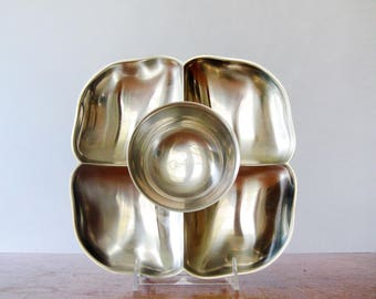 Mid Century Gense Stainless Swedish Serving Dish / Platter Clover