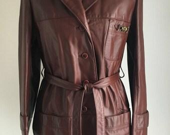 Vintage Etienne Aigner Brown Leather Coat, SIZE MEDIUM, Knee Length