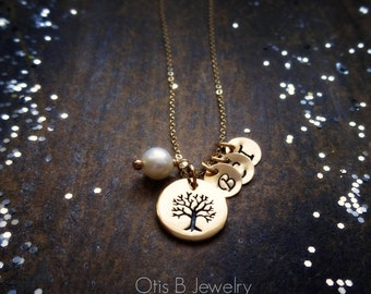 Mother's Day gift idea, family tree necklace personalized with hand stamped letter tags, childrens initials, kids, family, mommy mom