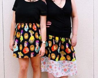 M. Frida Fantastico skirt in black. Elastic waist. Knee length. Can be custom ordered in other sizes.