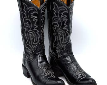 Black Patent Leather Mid Century Women's Rockabilly Western Cowgirl Boots