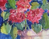 Watercolor Painting Potted Geraniums Original Art Still Life Red CarlottasArt carlie DeGaetano