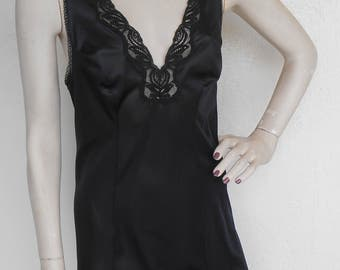 Vintage Full Slip Black Lace by Van Raalte Size 34 Slip dress