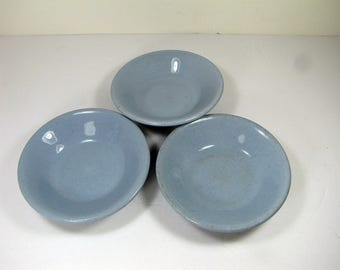 Vintage RESTAURANTWARE FRUIT BOWL Set/3 Dessert Berry Sauce Bowls Blue Lune Ware Buffalo China Circa 1940s