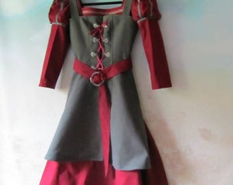 Girl's Tudor, Viking, Renaissance, Cosplay, Archery Dress, 'Suede' Tunic, & Belt: All Cotton, Size 10 - Ready To Ship