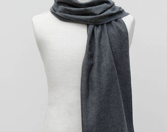 Personalized Mens Scarf, Gift for Him, Gray Herringbone