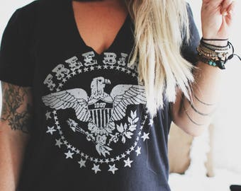 Free Bird Cutout Tee, Concert Tee, Grunge Shirt, Slouchy Shirt, Distressed Tee, Rocker Tee, Concert Tank, Gypsy Shirt, Boho Tank