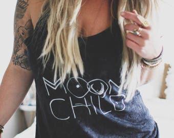 Moon Child, Moon Child Tank, Gypsy Soul Tank, Bohemian Tank, Van Life Tank, Mineral Wash Tank, Acid Wash Tee, Concert Tee, Festival Style