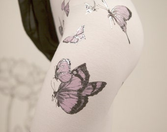 Clearance - Silver Butterfly Leggings , ivory, silver, purple, leggings, printed tights, womens bottoms,
