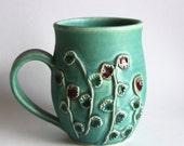 Teal Bud Ferm Stoneware Mug 20 oz. - Botanical Design - Handmade Pottery - One of a Kind - READY TO SHIP