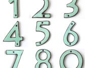 "House Numbers - Mid Century Modern - Ultra Modern - 4"" 5"" 6"" inch - Rustic Aqua Mist - Handmade Ceramic - Pottery Letters - MADE TO ORDER"