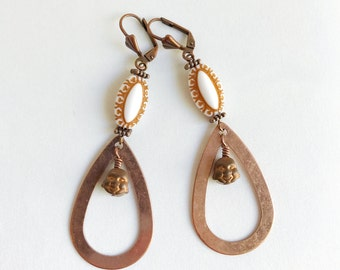 copper hoop earrings, bead statement earrings, smiling Buddha, bohemian jewelry, happy Buddha, vintage beads, kitsch, hippie chic, gypsy