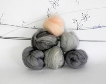 Wooly Buns roving, fiber sampler, assortment, needle felting supplies in Morning Dove, 1.5 oz natural and hand dyed roving fiber assortment