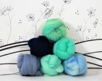 Wooly Buns wool roving assortment, 6 piece hand dyed fiber, needle felting supplies in Under the Sea, 1.5 oz ombre, graduated blue and green