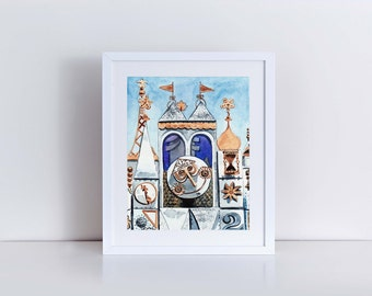 It's A Small World Clocktower Disney World Giclee Print of Watercolor Painting Princess Cinderella Tinkerbell Fairytale Children's Art