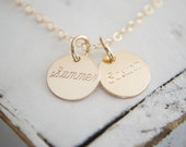 Engraved Name Necklace - Choose 1 2 3 4 discs - Gold or Rose Gold Available Dainty Personalized Minimalist Jewelry