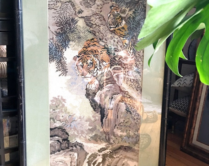 Amazing Framed Vintage Tiger Cross Stitch Embroidered Chinese Art