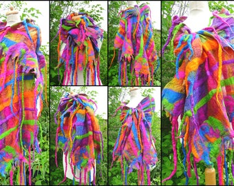 nuno felted scarf, silk scarf, wrap, handmade, merino wool, felt scarf, READY TO SHIP, lagenlook, purple, pink, blue, orange,green