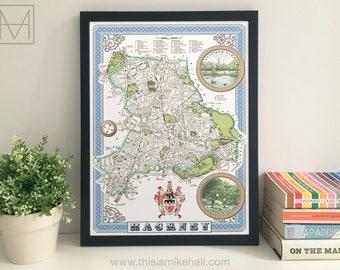 Hackney (Borough) illustrated map giclee print