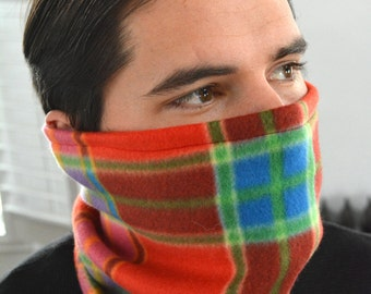 Uni-sex: Red Plaid Neck Warmer/ Face Warmer/ Fleece Face Mask/ Neck Gaiter/ Red Plaid Scarf/ Fleece Ski Mask