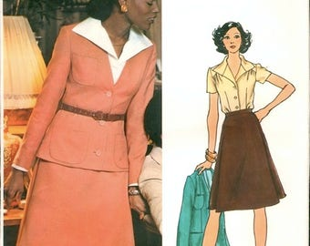Uncut Vintage 1970s Vogue Couturier Design 1039 Valentino Suit, Jacket, A Line Skirt and Blouse Sewing Pattern B34 W26.5