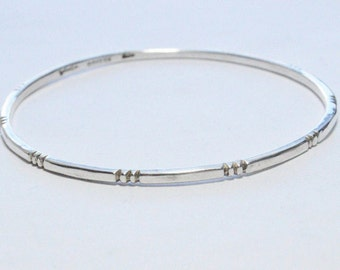 SALE Vintage Sterling Silver Taxco Mexico Etched Bangle Bracelet