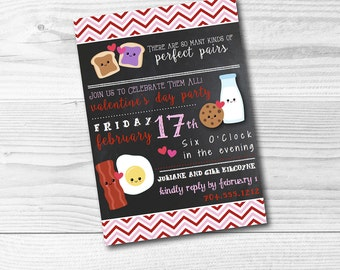 Valentine's Day Invitation Digital File Perfect Pair