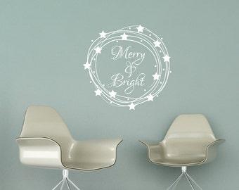 Merry And Bright | Star Wreath | Vinyl Wall Decal | Christmas Decor | Christmas Wall Decal | Holiday Decor |  Wreath Decal | 22601