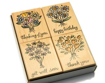 Cute Flower Stamps - Captioned Stamps - Bouquets of Wishes - Hero Arts - Rubber Stamp Set - Cardmaking Stamps - Paper and Ink Stamps