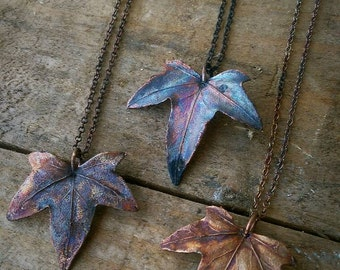 Rustic Raw Copper & Real Ivy Leaf Necklace