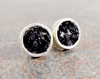 Geometric Earrings, Post Earrings, Black, Stud Earrings, Round, Black Earrings, Small Post Earrings, Black Stud Earrings, Silver, Modern