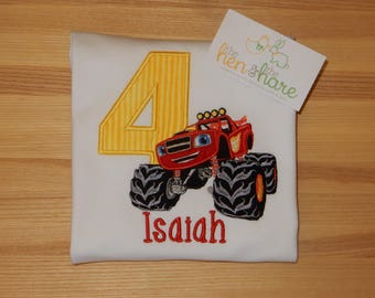 Blaze and The Monster Machines Monster truck Birthday shirt or onesie boy girl personalized custom made embroidery applique monogram