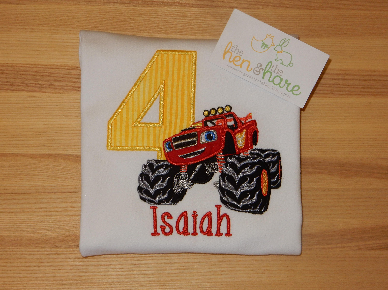 Blaze And The Monster Machines Truck Birthday Shirt Or Onesie Boy Girl Personalized Custom Made