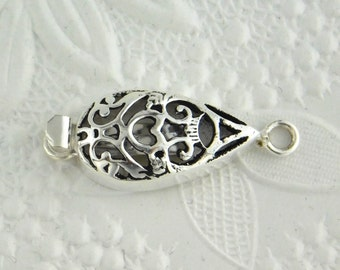 Silverfill-Filigree-Box Clasp-32x12mm-Pear Shape-Silverfilled-Findings-Catch-Victorian-Wedding