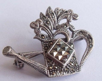 SALE Vintage Sterling Silver Marsala Marcasite Watering Can Pin