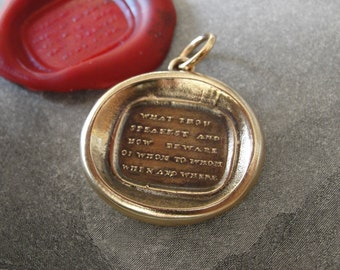 Words Of Wisdom Wax Seal Charm - antique wax seal jewelry pendant Word of Advice quote in bronze by RQP Studio
