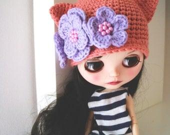 Blythe cat hat. Ear hat for newborn prop. ooak Blythe ears hat. Blythe accessories. Blythe doll hat. salmon blue hat.