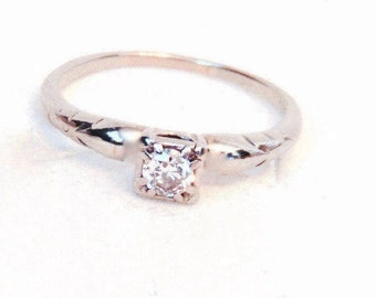 18K Jabel Diamond Solitaire Engagement Ring, Vintage, White Gold