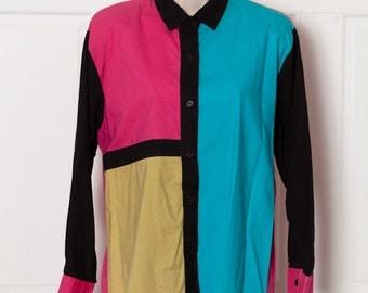 Vintage 80s 90s Womans Colorful Blouse - M