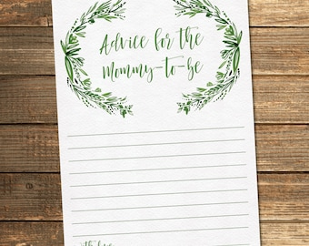 Greenery Baby Shower Mommy Advice Card / Floral Baby Shower / Neutral Baby Shower / PRINTABLE FILE