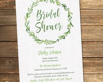 Greenery Bridal Shower Invitation, Greenery Wedding Shower, Green Flowers, Watercolor, Floral, Botanical (PRINTABLE FILE)