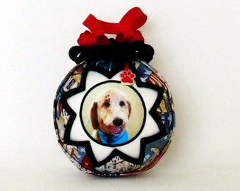 Pet Photo Ornament - Personalized - Patriotic Patchwork