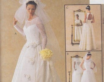 1999 Fairy Tale Princess Alicyn Wedding Gown Pattern, McCalls 2038, Full Skirt, Sweetheart Neck Sheer Lace Overlay and Sleeves, Back Cutout
