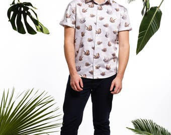 Handmade men's sloth shirt, men's printed shirt